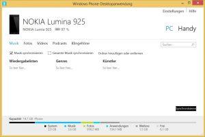 Windows Phone-Desktopanwendung - Synchronisation