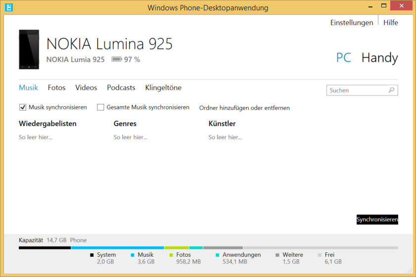 Nokia Lumia 925 – Windows Phone-Desktopanwendung Outlook synchronisieren