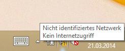 Nicht identifiziertes Netzwerk - Kein Internetzugriff