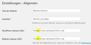 WordPress Adresse https einstellen
