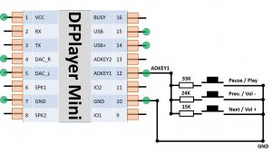DFPlayer Mini Verkabelung der Schalter