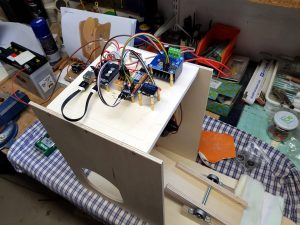 DIY ventilator construction wiper motor test setup