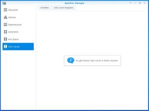 Synology Diskstation DS918+ SSD CACHE create 1