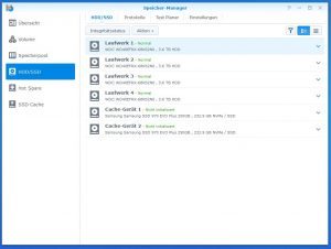 Synology Diskstation DS918+ SSD CACHE OVERVIEW