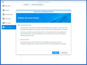 Synology Diskstation DS918+ SSD CACHE create 2