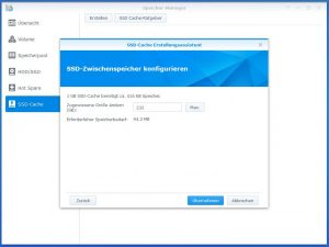 Synology Diskstation DS918+ SSD CACHE create 5