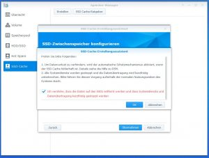 Synology Diskstation DS918+ SSD CACHE create 6