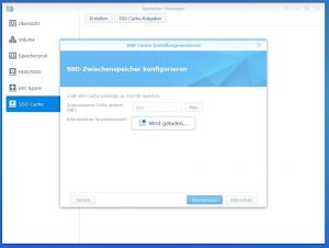 Synology Diskstation DS918+ SSD CACHE create 7