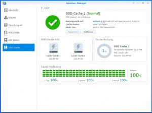 Synology Diskstation DS918+ SSD CACHE create 9