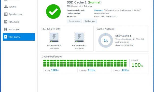 Synology Diskstation DS918+ NAS System 4 Bay – SSD Cache einrichten