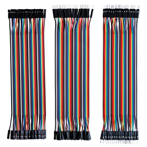 Elegoo Jumper Wire 40x 20cm Female-Female, Male-Female, Male-Male Kabel Steckbrücken 28AWG Drahtbrücken für Arduino Raspberry Pi (3er Set)